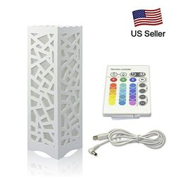 RCLITE LED Square Beside Lamp, Table Lamps, Art Light with Carve Patterns Or Designs On Woodwork White,LED Color Chaging Bulbs,RGB Desk Lamp Night Light for Bedroom, Dorm, Living Room
