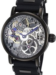 Rougois Tattoo Black Mechanical Skeleton Watch - Silicone Band