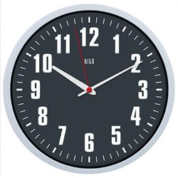 "Hito Silent 12"" Colorful Non-Ticking Wall Clock - Gray with Red Hand"