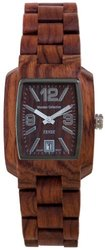 Tense Men's Timber African Rosewood Rectangular Watch - Brown
