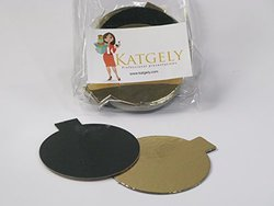 Katgely Mini Single Portion Cake Boards Double Sided Gold & Black, 3 1/8- Pack of 200