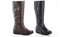 Rasolli Wide Width Comfort Riding Boot Lala-11 Black 10