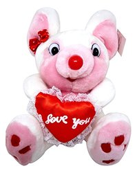 """Stuffed Animal, Plush Adorable Pink 9"""" Mouse With """"I Love You"""" Heart By Royal Imports"""