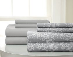 8-Piece Set Diamond Printed Sheet: Floral Grey/King