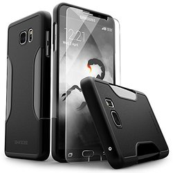 Galaxy Note 5 Case, Black SaharaCase Protective Kit [Case + Tempered Glass Screen Protector] Rugged Hard Frame [Slim Fit] Shock-Absorbing Bumper For Samsung Galaxy Note 5 (Black)