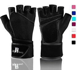 Workout Gloves With Wrist Support - Best Gym Gloves For Women - Premium Weight Lifting Gloves For Gym - Ideal Wrist Wrap Gloves, Crossfit Gloves, Training Gloves, Support Gloves, (black S)