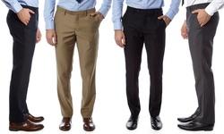 Men's Slim-fit Dress Pants: Black-blue/30/32