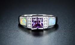 Sevil 18k White Gold Plated Amethyst & Fire Opal Ring - Size: 5