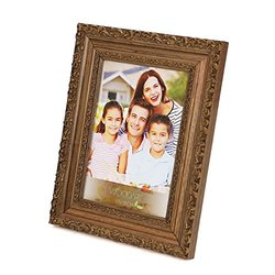 Wolff WOODART 4-inch x 6-inch Ornate Wooden Natural Photo Frame