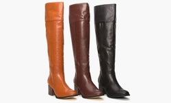 PU wide calf tall boot w/heel LZ6461-11 Dark Rum 7