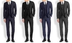 Mario Rossi Men's Slim Fit 3pc Suits: Navy/40rx34w