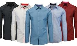 Slim Solid & Printed Long Sleeve Shirts: Mls-600 Burgundy - Small