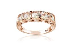 Morganite Half Eternity Band Ring In Rose Gold: 7