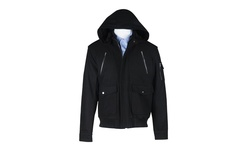 Domini Wool Blend Bomber Jacket with Hood - Black - Size: Large