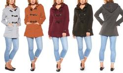 Women's Fleece Hooded Toggle Coat: Charcoal - Large