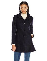 Kensie Wool Coats: Stand Collar Skirted-navy/small