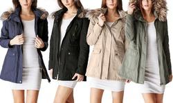 Ladies Cotton Parka Jacket With Fur Lined Hood: Olive - Large