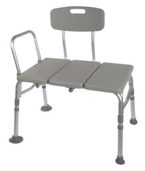 Drive Medical Plastic Transfer Bench - 3 Position Backrest - Gray