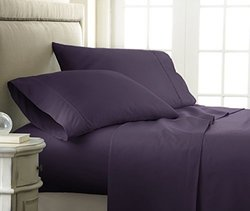 ienjoy Home 4 Piece Home Collection Premium Embossed Checker Design Bed Sheet Set, Twin, Purple