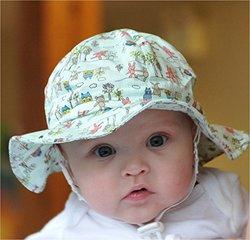 Twinklebelle Baby Adjustable Sun Hat w/ Chinstrap - Flower Power - 0-9m