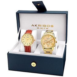 Akribos XXIV Men's Swiss Quartz Multifunction Strap & Bracelet Watch Set