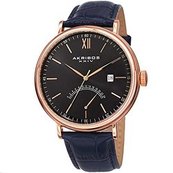 Akribos XXIV Men's  Retrograde GMT Leather Strap Watch AKGP845RGBU