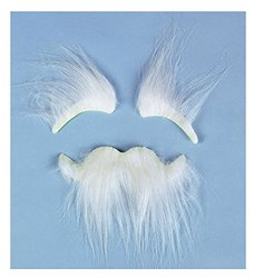 FE Synthetic Stick-On White Bushy Eyebrows And Mustache