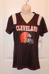 NFL Cleveland Browns Women's Shimmer Top - Black - Size: X-Large