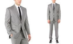 "Vince Camuto Men's Modern Fit Suit - Gray Sharkskin - Size: 40R x 34"""