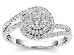 De Couer 10k White Gold 1/3ct Diamond Bypass Halo Cluster Engagement Ring