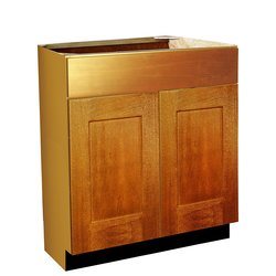 Raised Panel Door Style Vanity Sink Base - Oak Spice Finish