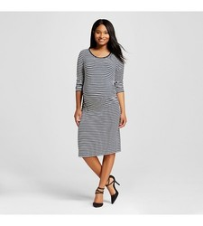Women's Striped Sleeve T-Shirt Dress - Dark Shadow Blue - Size: Medium