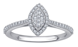 1/3 Cttw Diamond Marquise Shape Ring In 10k Gold - Size: 6