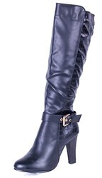 Forever Young Couture Women's Knee High Heel Boots - Snake Skins - Size: 8