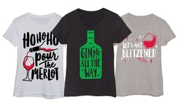 Ladies' Christmas Drinking Tees: Ho Ho Ho Pour The Merlot - Small