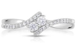 1/4 cttw Diamond 2 Stone Ring in 10k White Gold - Size: 10