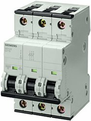 Siemens 5SY43067 3 Pole Breaker 6-Amp DIN Rail Supplementary Protector