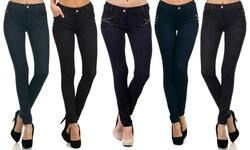 Yelete Women's Full Length Denim Inspired Jeggings - Navy Zipper - Sz: S/M