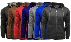 Men's Fleece Lined Zip-up Hooded Sweatshirt: Black/large