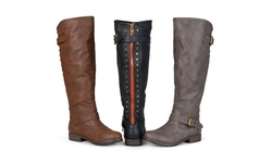 Journee Women's April Wide-calf Buckle Riding Boot - Chestnut - Size: 8.5