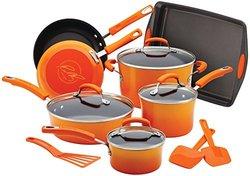 Rachael Ray Porcelain Nonstick 14-Piece Cookware Set - Orange Gradient