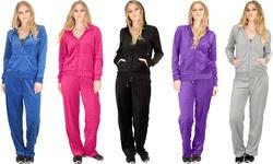 Lyss Loo 2-Piece Women's Plus Size Velour Tracksuit - Black - Size: 1X