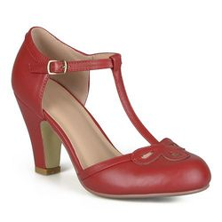 Journee Women's Round Toe Mary Jane Pumps - Red - Size: 10