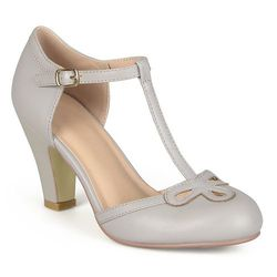 Journee Women's Round Toe Mary Jane Pumps - Grey - Size: 10