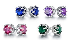 18k White Gold Plated Sapphire Spinel Crown Stud Earrings