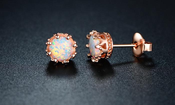 Gold Sevil Women S Fire Opal Crown Stud Earrings Rose