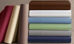 Hotel Grand 1000ThCotton-Rich Sateen Bed Sheet Set - Blue - Sz: Q