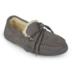Boston Traveler Men's Faux Suede Mocassin Slippers - Grey - Size: 10