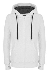 ACEVOG Ladies Women Soft Teddy Sherpa Fleece Hooded Jumper Hoody Jacket Coat,White,Large