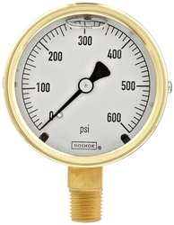 Noshok 300 Series Brass Liquid Filled Dial Indicating Pressure Gauge
